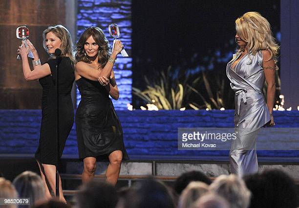 Actresses Cheryl Ladd and Jaclyn Smith of 'Charlie's Angels' are honored at the 8th Annual TV Land Awards as actress Pamela Anderson looks on at Sony...