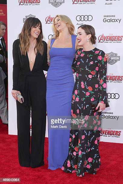 Actresses Chloe Bennet Adrianne Palicki and Elizabeth Henstridge attend the premiere of Marvel's 'Avengers Age Of Ultron' at Dolby Theatre on April...
