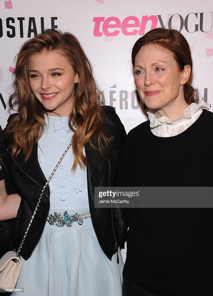 Actresses Chloe Grace Moretz and <a gi-track='captionPersonalityLinkClicked' href=/galleries/search?phrase=Julianne+Moore&family=editorial&specificpeople=171555 ng-click='$event.stopPropagation()'>Julianne Moore</a> attend the 10th Anniversary of Teen Vogue and Aeropostale's Celebration of Chloe Grace Moretz's Sweet 16 at Aeropostale Times Square on February 7, 2013 in New York City.