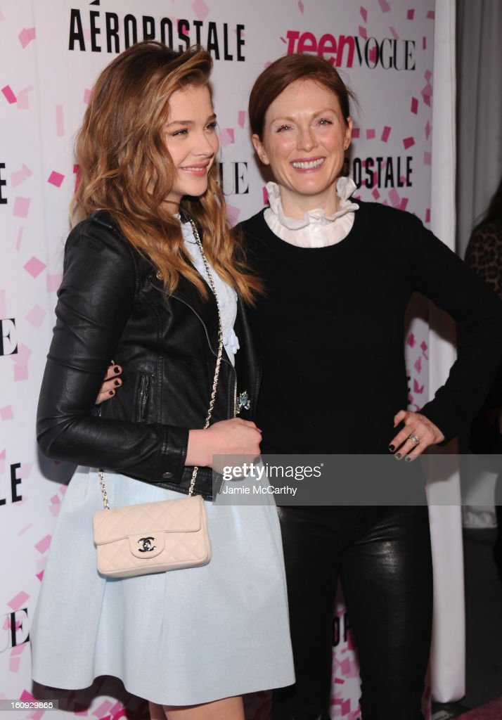 Actresses Chloe Grace Moretz and Julianne Moore attend the 10th Anniversary of Teen Vogue and Aeropostale's Celebration of Chloe Grace Moretz's Sweet 16 at Aeropostale Times Square on February 7, 2013 in New York City.