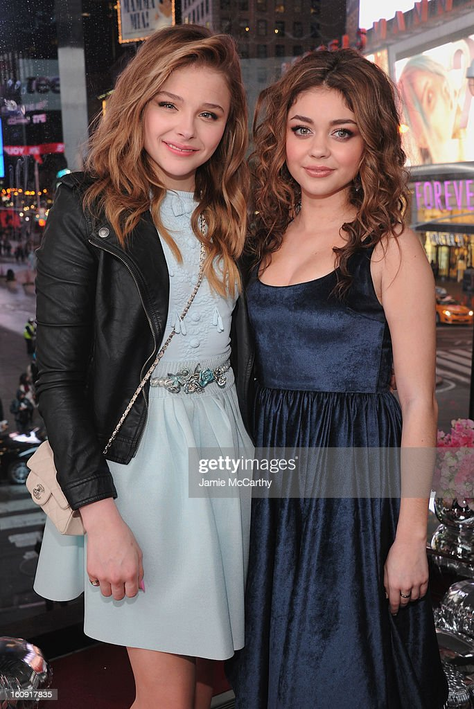 Actresses Chloe Grace Moretz and Sarah Hyland attend the 10th Anniversary of Teen Vogue and Aeropostale's Celebration of Chloe Grace Moretz's Sweet 16 at Aeropostale Times Square on February 7, 2013 in New York City.