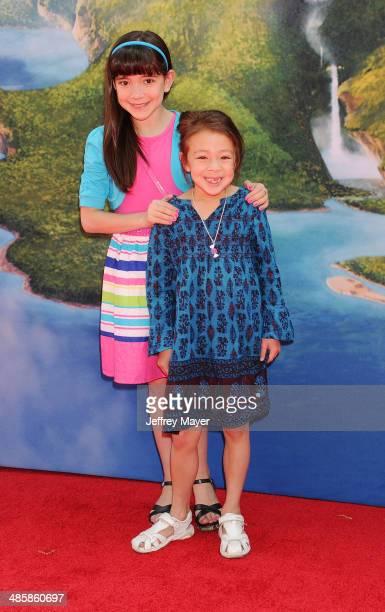 Actresses Chloe Noelle Aubrey AndersonEmmons attend the premiere of DisneyToon Studios' 'The Pirate Fairy' at Walt Disney Studios on March 22 2014 in...