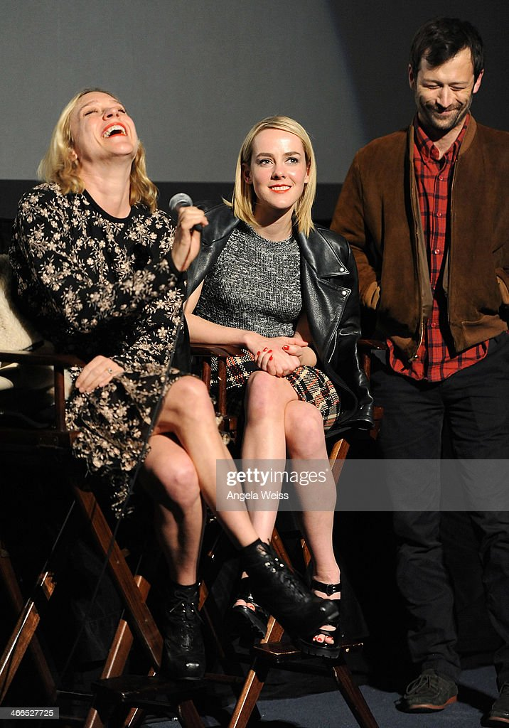 Actresses <a gi-track='captionPersonalityLinkClicked' href=/galleries/search?phrase=Chloe+Sevigny&family=editorial&specificpeople=201550 ng-click='$event.stopPropagation()'>Chloe Sevigny</a> and <a gi-track='captionPersonalityLinkClicked' href=/galleries/search?phrase=Jena+Malone&family=editorial&specificpeople=216548 ng-click='$event.stopPropagation()'>Jena Malone</a> attend the screening and Q&A of 'The Wait' at Downtown Independent Theater on February 1, 2014 in Los Angeles, California.