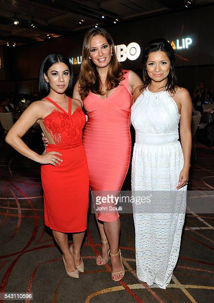 Actresses Chrissie Fit Alex Meneses and Kristina Guerrero attend the NALIP 2016 Latino Media Awards at Dolby Theatre on June 25 2016 in Hollywood...