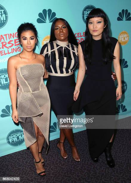 Actresses Chrissie Fit Ester Dean and Hana Mae Lee attend the 12th Annual NBCUniversal Short Film Festival finale screening at the Directors Guild of...