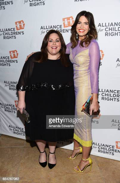 Actresses Chrissy Metz and Mandy Moore arrive at the Alliance For Children's Rights 25th Anniversary Celebration at The Beverly Hilton Hotel on March...