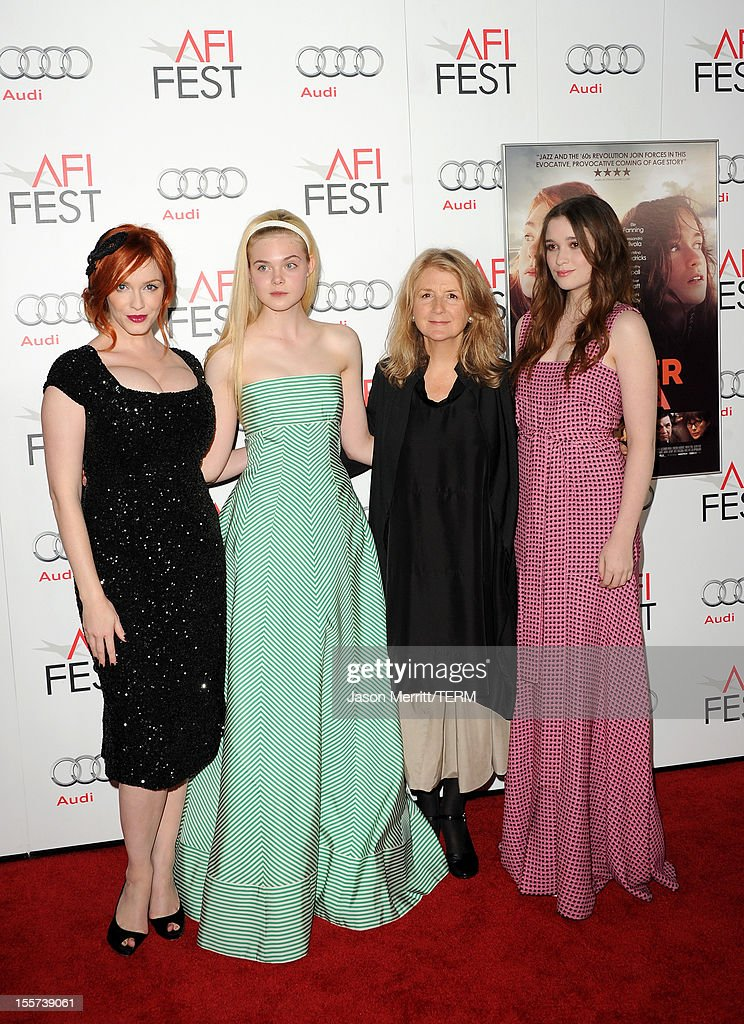 Actresses <a gi-track='captionPersonalityLinkClicked' href=/galleries/search?phrase=Christina+Hendricks&family=editorial&specificpeople=2239736 ng-click='$event.stopPropagation()'>Christina Hendricks</a>, <a gi-track='captionPersonalityLinkClicked' href=/galleries/search?phrase=Elle+Fanning&family=editorial&specificpeople=2189940 ng-click='$event.stopPropagation()'>Elle Fanning</a>, director <a gi-track='captionPersonalityLinkClicked' href=/galleries/search?phrase=Sally+Potter&family=editorial&specificpeople=212743 ng-click='$event.stopPropagation()'>Sally Potter</a> and actress Alice Englert arrive at the 'Ginger And Rosa' special screening during AFI Fest 2012 presented by Audi at Grauman's Chinese Theatre on November 7, 2012 in Hollywood, California.