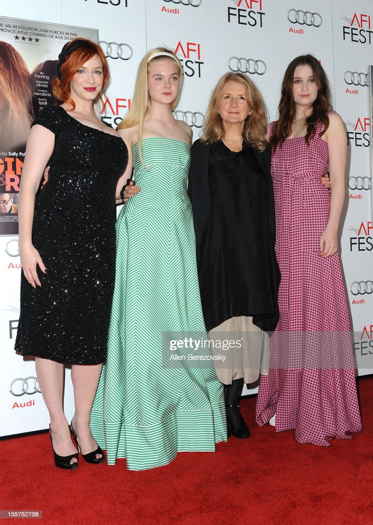 Actresses <a gi-track='captionPersonalityLinkClicked' href=/galleries/search?phrase=Christina+Hendricks&family=editorial&specificpeople=2239736 ng-click='$event.stopPropagation()'>Christina Hendricks</a>, <a gi-track='captionPersonalityLinkClicked' href=/galleries/search?phrase=Elle+Fanning&family=editorial&specificpeople=2189940 ng-click='$event.stopPropagation()'>Elle Fanning</a>, director <a gi-track='captionPersonalityLinkClicked' href=/galleries/search?phrase=Sally+Potter&family=editorial&specificpeople=212743 ng-click='$event.stopPropagation()'>Sally Potter</a> and actress Alice Englert arrive at the special screening of 'Ginger & Rosa' during 2012 AFI FEST at Grauman's Chinese Theatre on November 7, 2012 in Hollywood, California.
