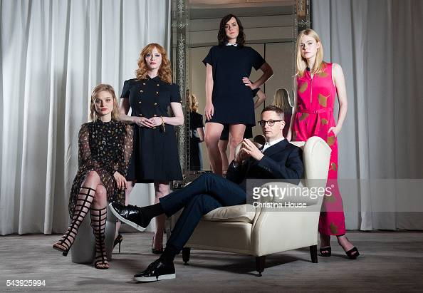 Actresses Christina Hendricks Elle Fanning Jena Malone director Nicolas Winding Refn and Bella Heathcoat of 'The Neon Demon' are photographed for Los...
