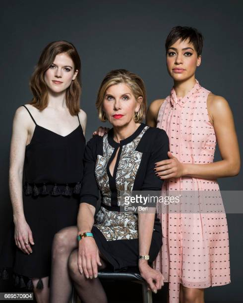 Actresses Christine Baranski Rose Leslie and Cush Jumbo are photographed for Los Angeles Times on January 9 2017 in Los Angeles California