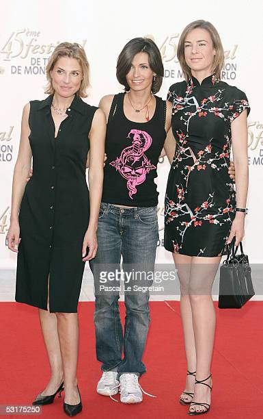 Actresses Christine Lemler Adeline Blondieau and Benedicte Delmas pose as they arrive to attend the TF1 party at the Grimaldi Forum during the 45th...