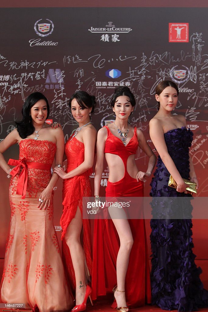 Actresses Christy Chung Terri Kwan Leni Lan and Shi Yanfei arrive at the red carpet during the opening ceremony for the 15th Shanghai International...