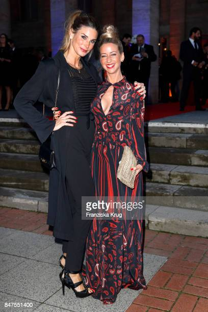 Actresses Claudelle Deckert and Isabell Hertel attend the UFA 100th anniversary celebration at Palais am Funkturm on September 15 2017 in Berlin...