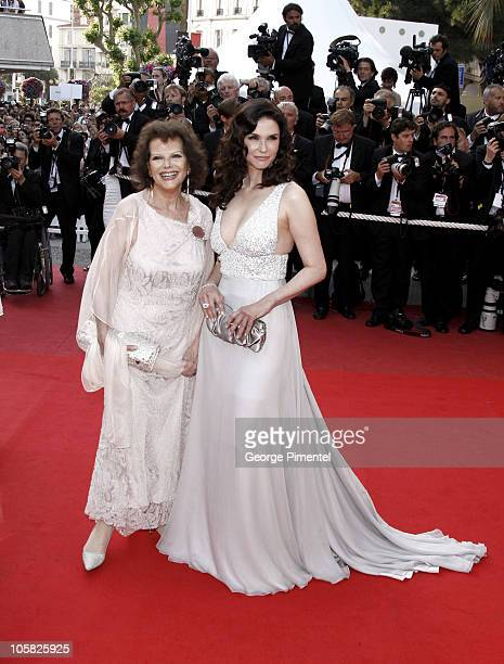 Actresses Claudia Cardinale and Alessandra Martines attend the 'Inglourious Basterds' Premiere at the Grand Theatre Lumiere during the 62nd Annual...