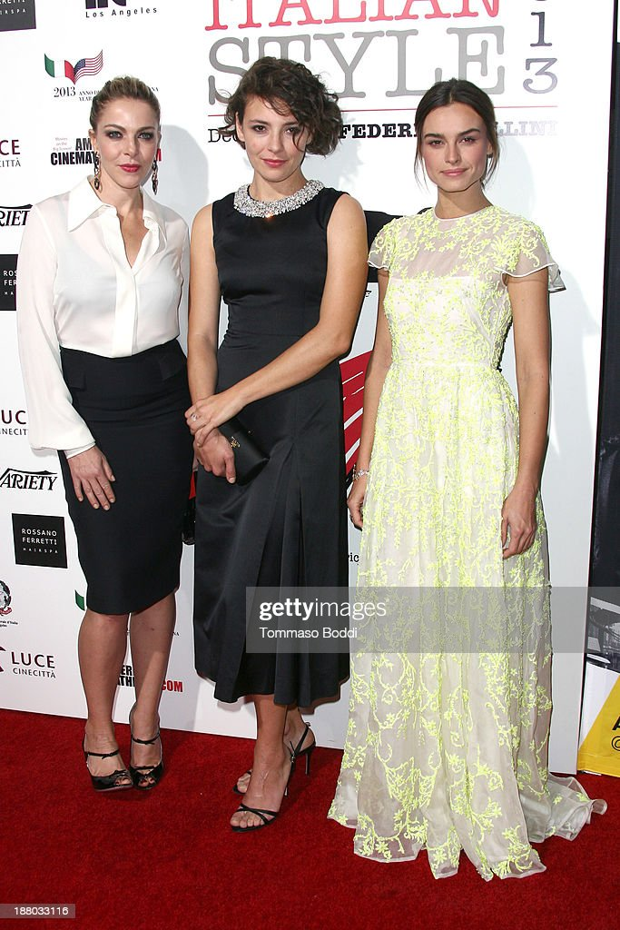 Actresses <a gi-track='captionPersonalityLinkClicked' href=/galleries/search?phrase=Claudia+Gerini&family=editorial&specificpeople=220347 ng-click='$event.stopPropagation()'>Claudia Gerini</a>, <a gi-track='captionPersonalityLinkClicked' href=/galleries/search?phrase=Jasmine+Trinca&family=editorial&specificpeople=622594 ng-click='$event.stopPropagation()'>Jasmine Trinca</a> and <a gi-track='captionPersonalityLinkClicked' href=/galleries/search?phrase=Kasia+Smutniak&family=editorial&specificpeople=3959978 ng-click='$event.stopPropagation()'>Kasia Smutniak</a> attend the Luce Cinecitta' and the American Cinematheque in collaboration with AFI FEST present Cinema Italian Style opening night held at the Egyptian Theatre on November 14, 2013 in Hollywood, California.