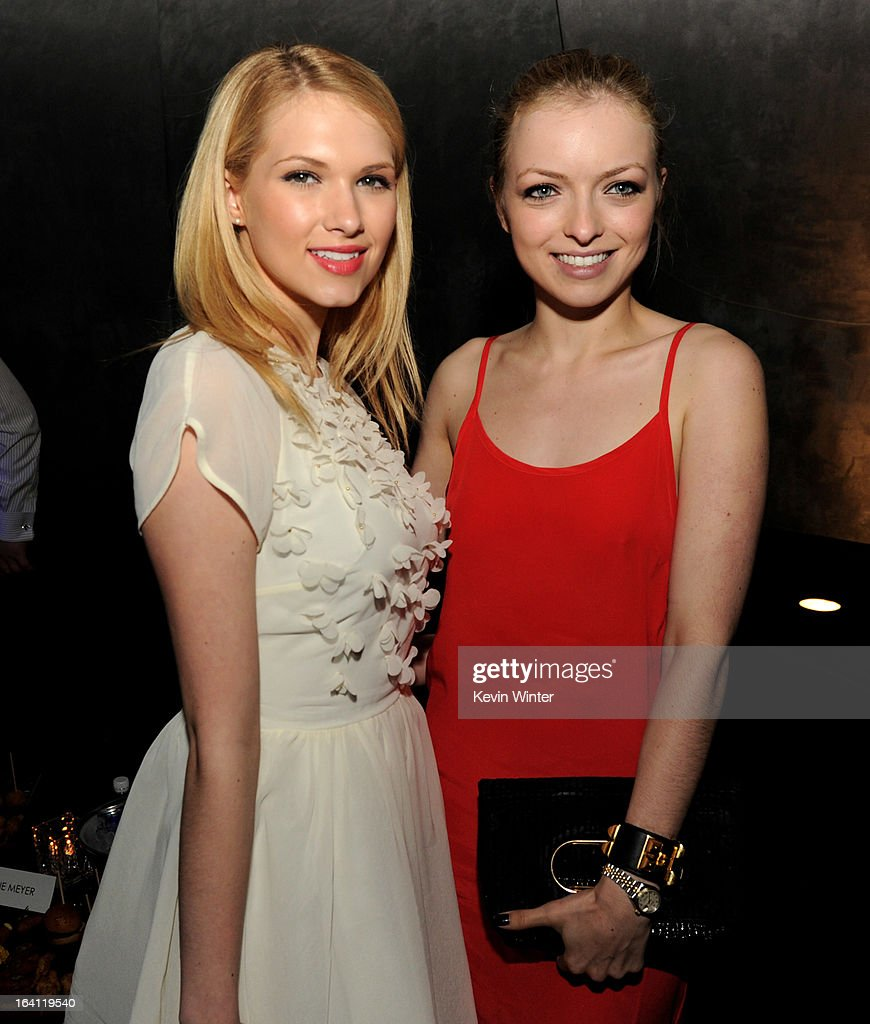 Actresses <a gi-track='captionPersonalityLinkClicked' href=/galleries/search?phrase=Claudia+Lee&family=editorial&specificpeople=6786306 ng-click='$event.stopPropagation()'>Claudia Lee</a> (L) and Francesca Eastwood pose at the after party for the premiere of Open Road Films' 'The Host' at Lure on March 19, 2013 in Los Angeles, California.