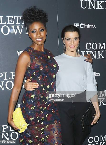 Actresses Condola Rashad and Rachel Weisz attend the 'Complete Unknown' New York premiere at The Metrograph on August 23 2016 in New York City