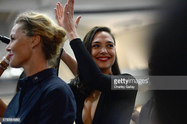 Actresses Connie Nielsen and Gal Gadot from the 2017 feature film Wonder Woman attend an autograph signing session for fans in DC's 2016 San Diego...