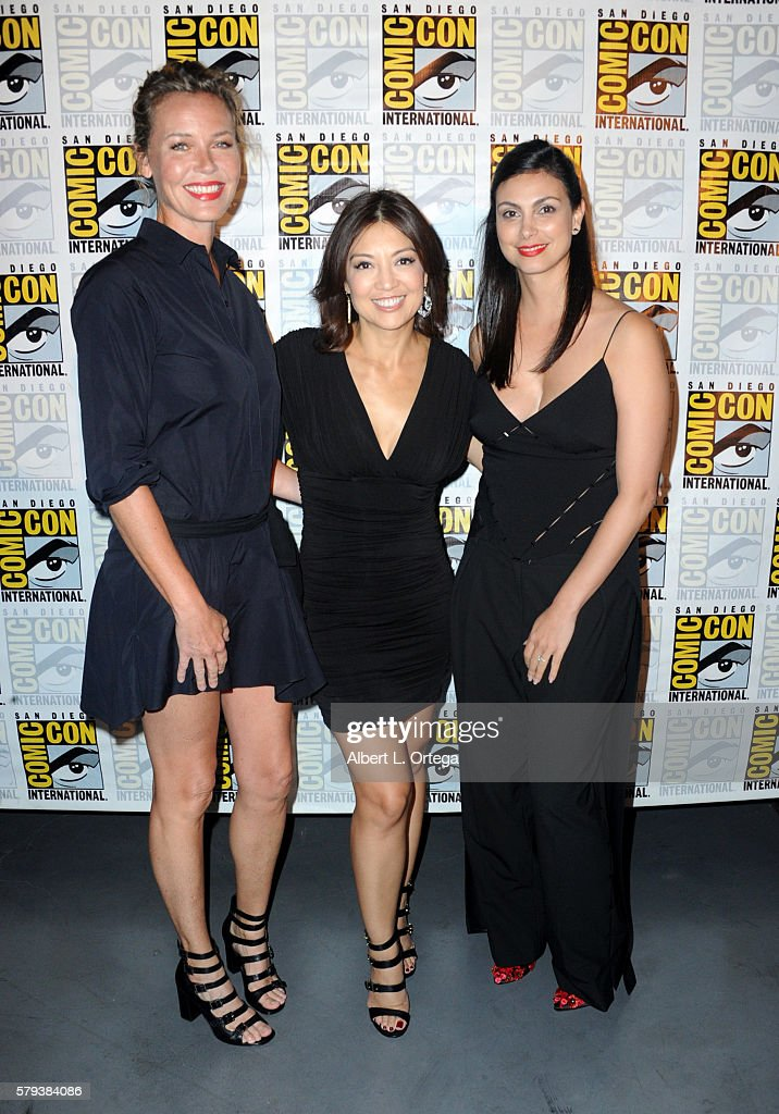 Actresses Connie Nielsen MingNa Wen and Morena Baccarin attend the Entertainment Weekly's Women Who Kick Ass event during ComicCon International 2016...