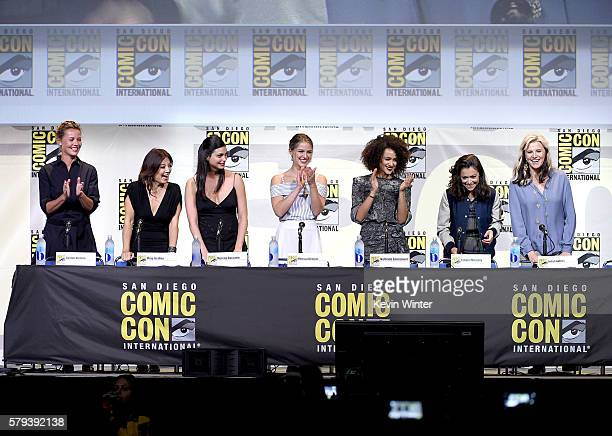 Actresses Connie Nielsen MingNa Wen Morena Baccarin Melissa Benoist Nathalie Emmanuel Tatiana Maslani and Lucy Lawless attend the Entertainment...