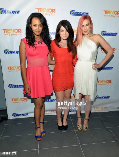 Actresses Corbin Reid Lindsay Pearce and Rumer Willis attend 'Prom 2014 A Night Out For Trevor' presented by the Trevor Project at Petersen...