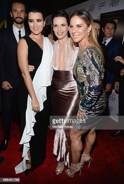 Actresses Cote de Pablo Juliette Binoche and Kate del Castillo attend the Centerpiece Gala Premiere of Alcon Entertainment's 'The 33' during AFI FEST...