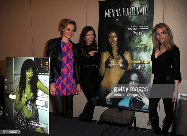 Actresses Crystal Allen Menina Fortunato and Cyia Batten at the The Hollywood Show held at Westin LAX Hotel on April 9 2016 in Los Angeles California