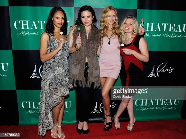 Actresses Cynthia AddaiRobinson Katrina Law Ellen Hollman and Bonnie Sveen arrive at the Chateau Nightclub Gardens at the Paris Las Vegas on February...