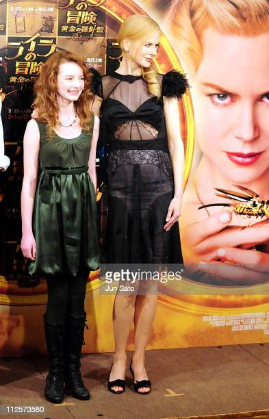 Actresses Dakota Blue Richards and Nicole Kidman attend 'The Golden Compass' press conference at The Peninsula Tokyo on February 20 2008 in Tokyo...