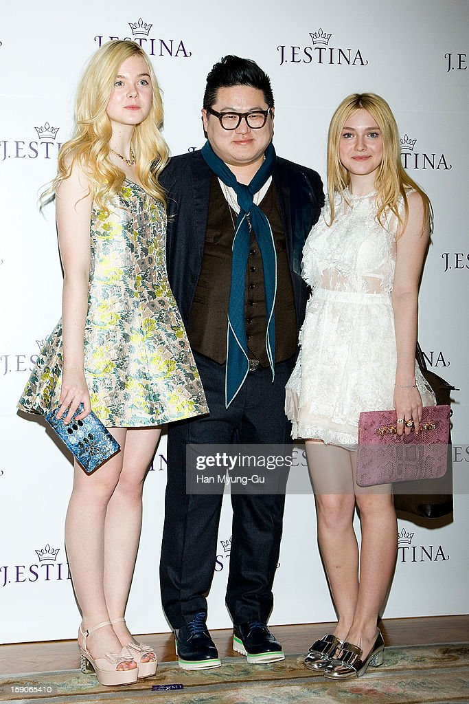 Actresses Dakota Fanning, Elle Fanning and Stylist & PR Agency Intrend President, Jeong Yun-Kee (Jung Yun-Ki ) attend a promotional event for the 2013 J.ESTINA SS presentation at Shilla Hotel on January 7, 2013 in Seoul, South Korea.