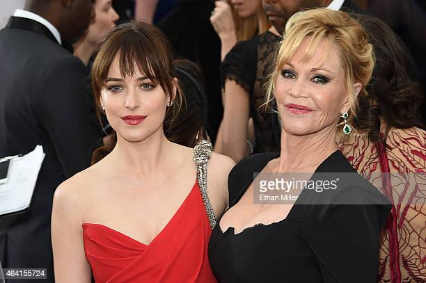Actresses Dakota Johnson and Melanie Griffith attend the 87th Annual Academy Awards at Hollywood Highland Center on February 22 2015 in Hollywood...