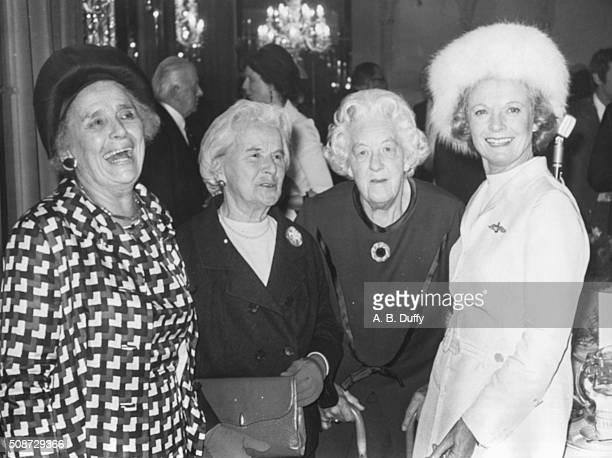 Actresses Dames Rebecca West Dame Maria Rambert Dame Margaret Rutherford and Dame Anna Neagle pictured at the tribute luncheon for Dame Anna Neagle...
