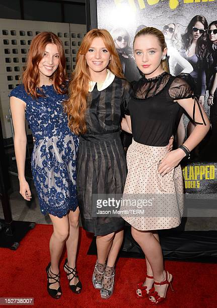Actresses Dani Thorne Bella Thorne and Kathryn Newton arrive at the Los Angeles premiere of 'Pitch Perfect' at ArcLight Hollywood on September 24...