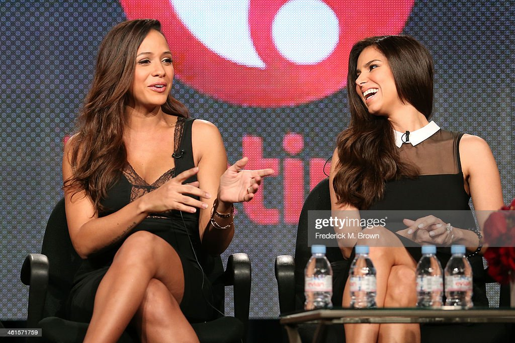 Actresses Dania Ramirez and Roselyn Sanchez speak onstage during the 'Lifetime - Devious Maids' panel discussion at the Lifetime/A&E Network' portion of the 2014 Winter Television Critics Association tour at the Langham Hotel on January 9, 2014 in Pasadena, California.