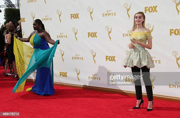 Actresses Danielle Brooks and Kiernan Shipka arrive at the 67th Annual Primetime Emmy Awards at the Microsoft Theater on September 20 2015 in Los...