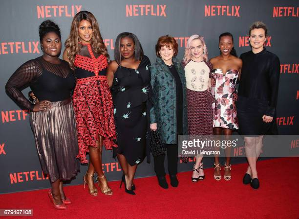 Actresses Danielle Brooks Laverne Cox Uzo Aduba Blair Brown Taryn Manning Samira Wiley and Taylor Schilling attend Netflix's 'Orange Is The New...