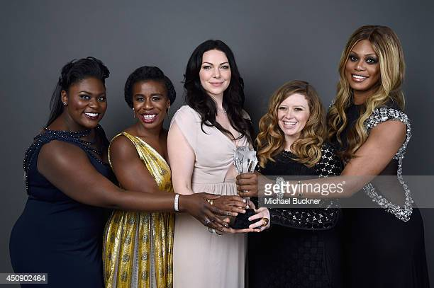 Actresses Danielle Brooks Uzo Aduba Laura Prepon Natasha Lyonne and Laverne Cox of 'Orange is the New Black' winner of the Best Comedy Series award...