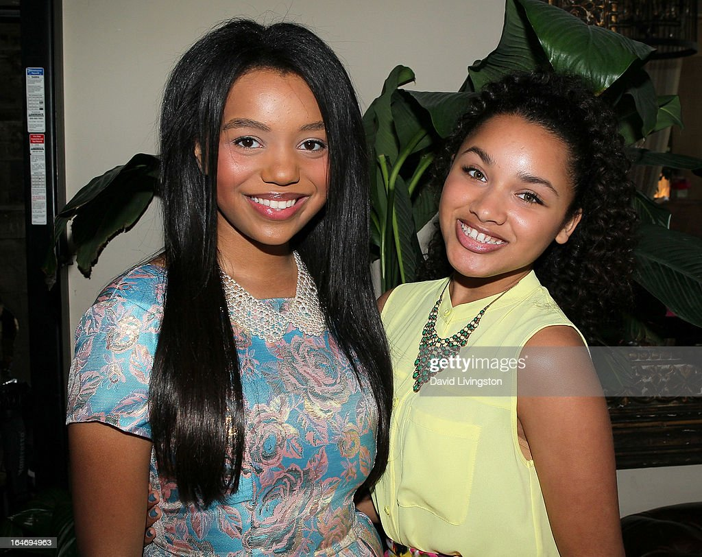 Actresses Daphne Blunt (L) and Jaylen Barron attend the Boohoo's Summer 2013 Press Day at SUR Lounge on March 26, 2013 in Los Angeles, California.