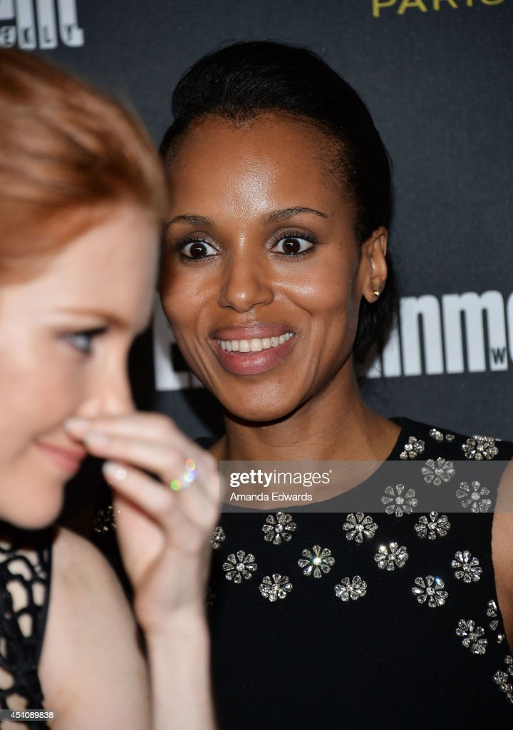 Actresses Darby Stanchfield (L) and Kerry Washington arrive at the 2014 Entertainment Weekly Pre-Emmy Party at Fig & Olive Melrose Place on August 23, 2014 in West Hollywood, California.