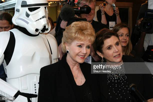 Actresses Debbie Reynolds and Carrie Fisher arrive at the premiere of 'Star Wars Episode III Revenge of the Sith' at the Loews Cineplex Uptown...