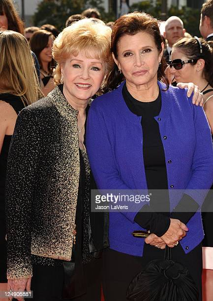 Actresses Debbie Reynolds and Carrie Fisher attend the 2011 Creative Arts Emmy Awards at Nokia Theatre LA Live on September 10 2011 in Los Angeles...