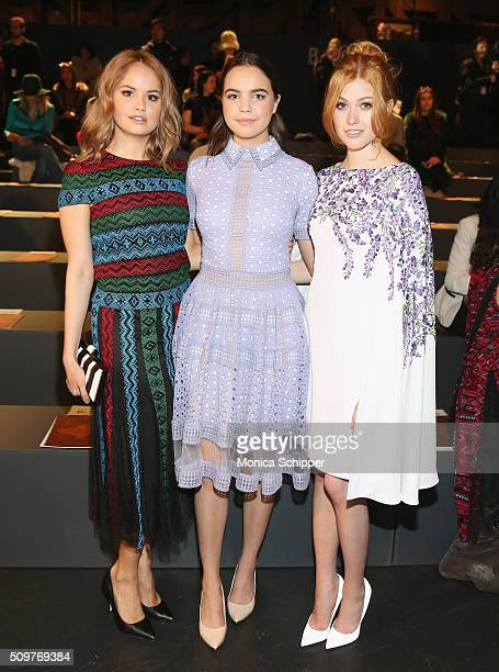 Actresses Debby Ryan Bailee Madison and Katherine McNamara attend the Tadashi Shoji Fall 2016 fashion show during New York Fashion Week The Shows at...