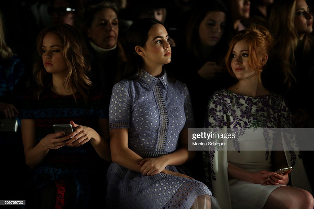 Actresses <a gi-track='captionPersonalityLinkClicked' href=/galleries/search?phrase=Debby+Ryan&family=editorial&specificpeople=5443414 ng-click='$event.stopPropagation()'>Debby Ryan</a>, <a gi-track='captionPersonalityLinkClicked' href=/galleries/search?phrase=Bailee+Madison&family=editorial&specificpeople=4136620 ng-click='$event.stopPropagation()'>Bailee Madison</a>, and <a gi-track='captionPersonalityLinkClicked' href=/galleries/search?phrase=Katherine+McNamara&family=editorial&specificpeople=6829207 ng-click='$event.stopPropagation()'>Katherine McNamara</a> attend the Tadashi Shoji Fall 2016 fashion show during New York Fashion Week: The Shows at The Arc, Skylight at Moynihan Station on February 12, 2016 in New York City.