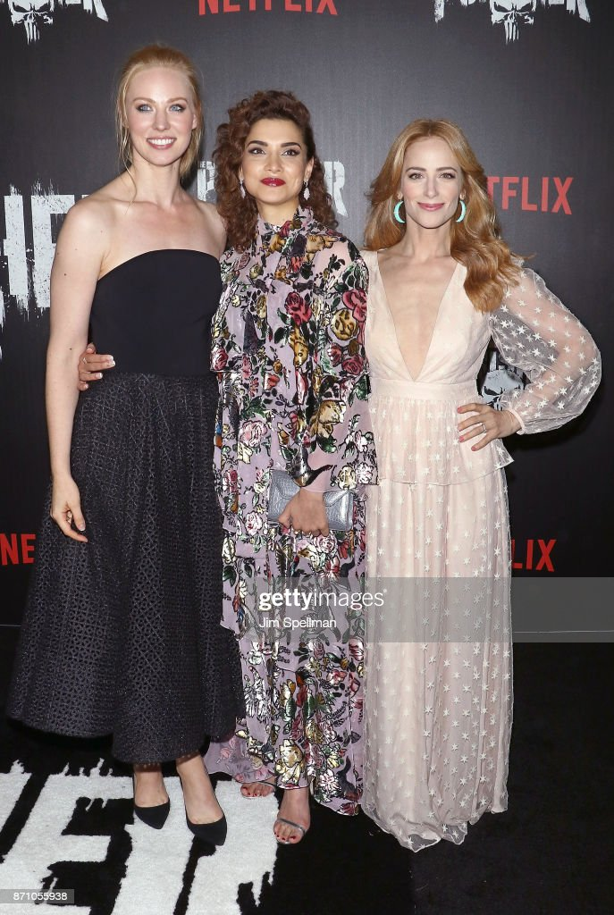 Actresses Deborah Ann Woll, Amber Rose Revah and Jaime Ray Newman attend the 'Marvel's The Punisher' New York premiere at AMC Loews 34th Street 14 theater on November 6, 2017 in New York City.