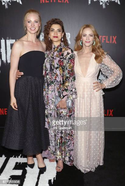 Actresses Deborah Ann Woll Amber Rose Revah and Jaime Ray Newman attend the 'Marvel's The Punisher' New York premiere at AMC Loews 34th Street 14...