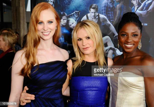 Actresses Deborah Ann Woll Anna Paquin and Rutina Wesley arrive at HBO's 'True Blood' Season 3 premiere held at the ArcLight Cinemas Cinerama Dome on...