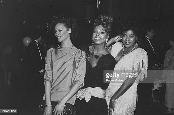 Actresses Debra Burrell Sheryl Lee Ralph Loretta Devine from the cast of Dreamgirls at Tony Awards party at the New York Hilton