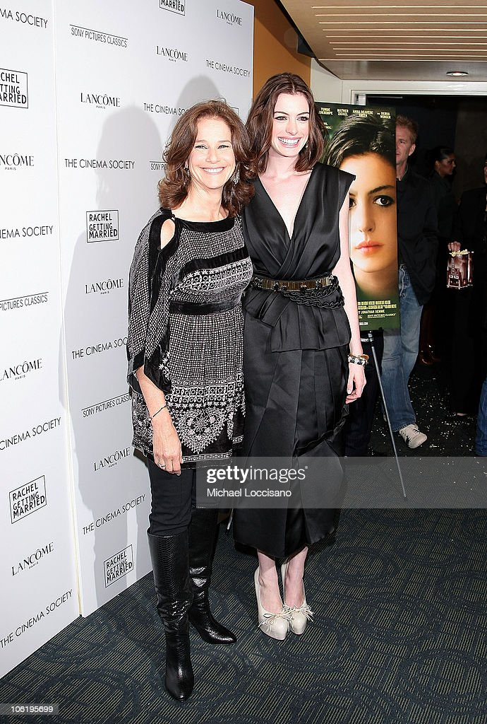 Actresses <a gi-track='captionPersonalityLinkClicked' href=/galleries/search?phrase=Debra+Winger&family=editorial&specificpeople=226787 ng-click='$event.stopPropagation()'>Debra Winger</a> and <a gi-track='captionPersonalityLinkClicked' href=/galleries/search?phrase=Anne+Hathaway+-+Sk%C3%A5despelerska&family=editorial&specificpeople=11647173 ng-click='$event.stopPropagation()'>Anne Hathaway</a> attend a screening of 'Rachel Getting Married' hosted by The Cinema Society and Lancome at the Landmark Sunshine Theatre on September 25, 2008 in New York City.