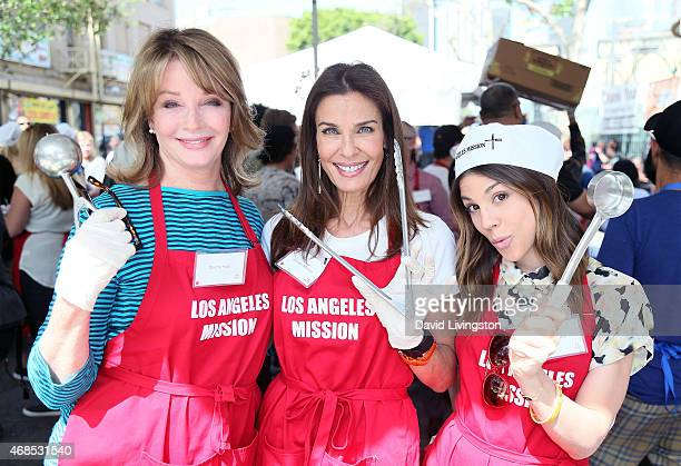 Actresses Deidre Hall Kristian Alfonso and Kate Mansi attend the Los Angeles Mission Easter event at the Los Angeles Mission on April 3 2015 in Los...