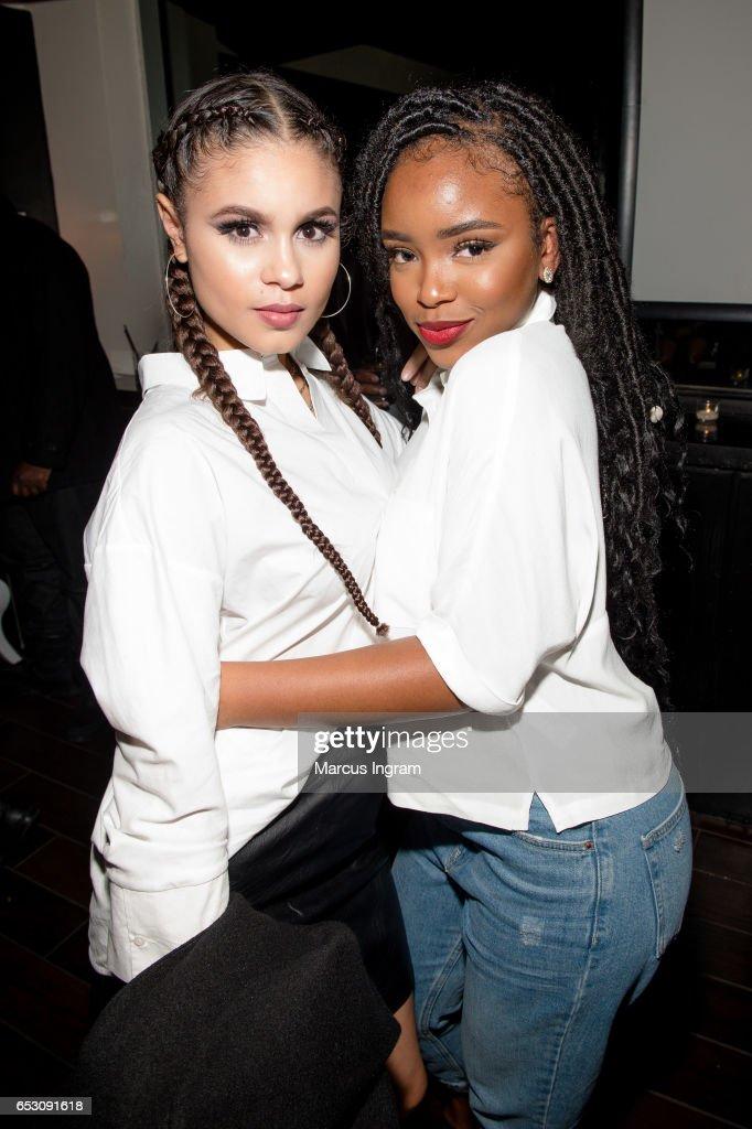 Actresses Desiree Ross and Lovie Simone attend 'Greenleaf' season 2 premiere Atlanta screening reception at SCADshow on March 13, 2017 in Atlanta, Georgia.